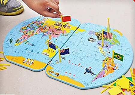 SHENGHUAJIE Montessori Geography Materials Flag Stand Mapa del Mundo y 36 Banderas: Amazon.es: Juguetes y juegos