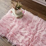 OJIA Deluxe Soft Faux Sheepskin Shaggy Area Floor Rugs Children Play Carpet for Living & Bedroom Sofa(2ft x 3ft, Pink)