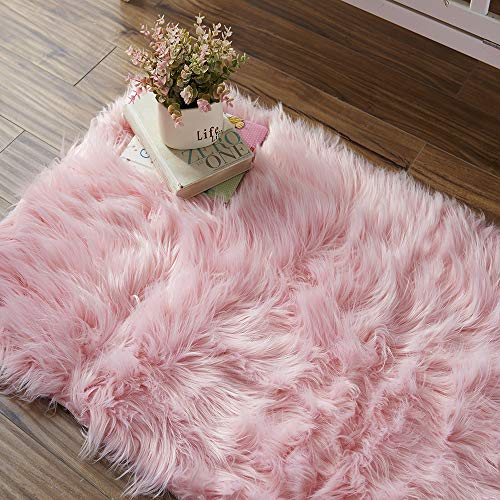 OJIA Deluxe Soft Modern Faux Sheepskin Shaggy Area Rugs Children Play Carpet for Living & Bedroom Sofa (2ft x 3ft, Pink)