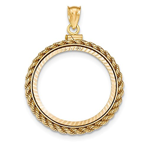 (Jewelry Stores Network 14k Yellow Gold Casted Rope D/C Screw Top 1/2 oz American Eagle Coin Bezel)