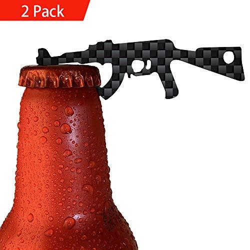 HOPEME Bottle Opener Keychain Made by Real Carbon Fiber AK-47 Gun Shape, Bartender Durable Claw Beer Beverage Bottle Opener for Outdoor Campaign Bar Restaurant, Gift for Man and Soldier ()