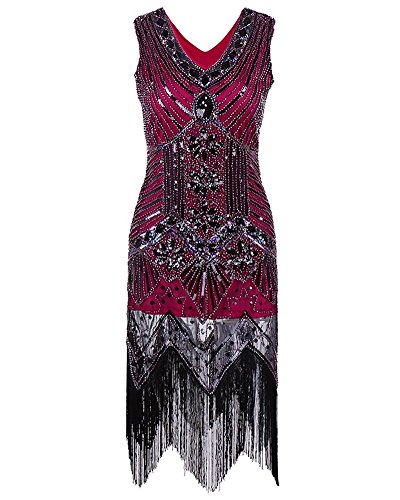 Orange Flapper Dress (Maketina Roaring 20s Vintage Fringes Sequin Beaded Embellished Gatsby Flapper Dress size S (Wine))