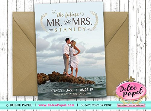 10 Beach Custom Photo The Future Mr and Mrs Vintage Wedding Save The Date Cards 5x7