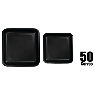 """100 Count Square Black Paper Plates   50~9"""" Dinner Paper Plates   50~7"""" Dessert Paper Plates   Black Party Theme: Toys & Games"""