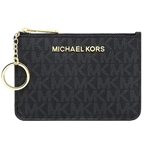 Michael Kors Jet Set Travel Small Top Zip Signature Coin Pouch ID Card Case (Black PVC)