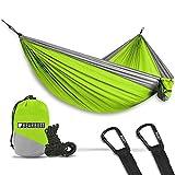 Bear Butt Double Parachute Camping Hammock, Lime Green / Gray