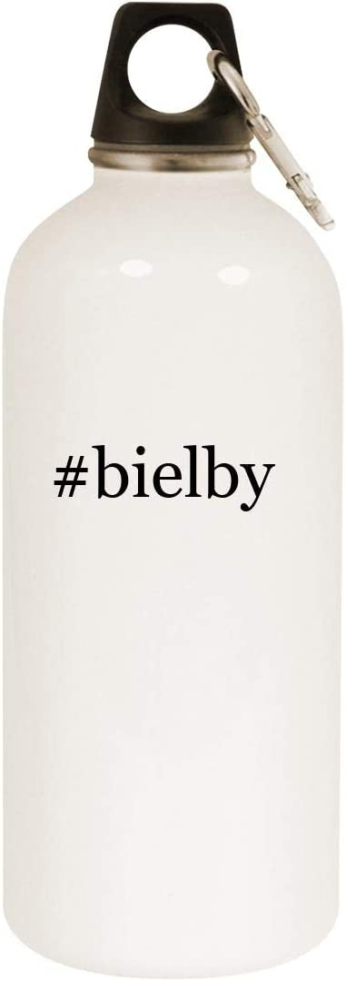 #bielby - 20oz Hashtag Stainless Steel White Water Bottle with Carabiner, White