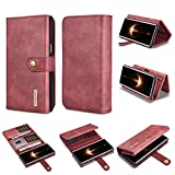 good cell phones - Galaxy Note 8 Wallet Case,DG.MING Genuine Cowhide Leather Folio Flip Wallet Cases for Samsung Galaxy Note 8 [Detachable SlimCase][15 Card Slots][Built-in Stand][Magnetic Closure] (Red)