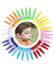 LOCOLO 36 Pieces Plastic Kazoos 8 Colorful Kazoo Musical Instrument for Boys Girls Gift, Prize and Party Supplies