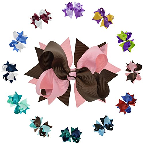 Lclhb 12 Piece Grosgrain Ribbon Style Hair Bow Alligator Clips, 12 Color - Girl Ribbon Fancy