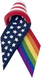 product image for Merrily Made LGBT Gay Lesbian American Ribbon Flag Rainbow Pride Lapel Pin