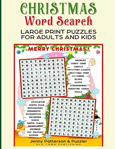 Christmas Word Search Large Print Puzzles for Adults and Kids: Exercise your Brain without Straining your Eyes.  Bonus Kids Puzzles. (Word Puzzler Series) -