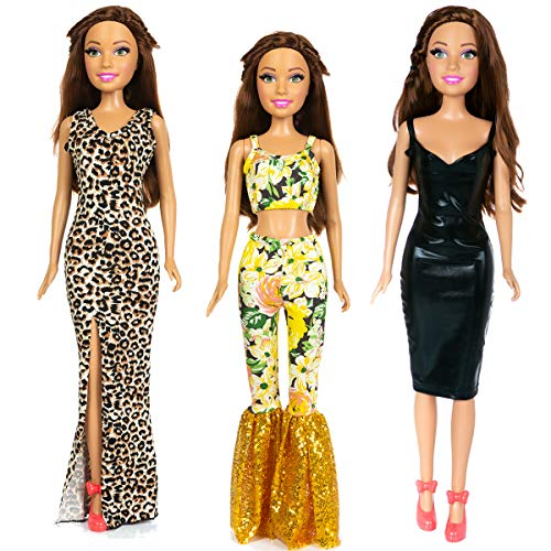 Ecore Fun 4 Pcs Fashion Doll Clothes Casual Outfits Dresses for 28 Inch Girl Doll Clothes