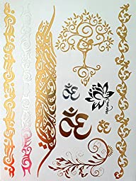 Modern Boho Metallic Tattoos Flash Huge Collection  (Yoga Collection), Gold/Silver, 5 Sheet