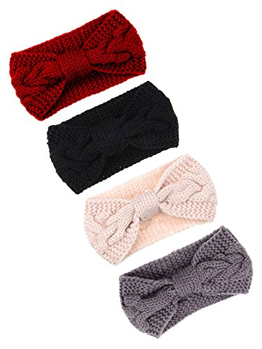 Pangda 4 Pieces Cable Knit Headband Crochet Headbands Plain Braided Head Wrap Winter Ear Warmer for Women Girls, 4 Colors (Multicoloured -