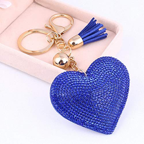 Heart Purse Valet - Womens Heart Pendant Golden Plated Keychain Leather Tassel Crystal Rhinestone Bag Purse Car llaveros Key Chains Jewelry Key Ring Holder FT044