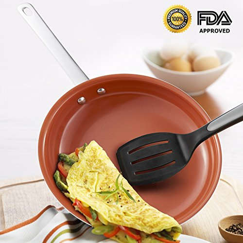 10.5 Inch Healthy Nonstick Frying Pan,Nonstick Ceramic Frying Pans,Green Nonstick Ceramic Pan,Fry Pan with Titanium Coating,PTFE POFA Free,Oven Safe,Dishwasher Safe(10 Inch ) (Dishwasher Safe Ceramic)