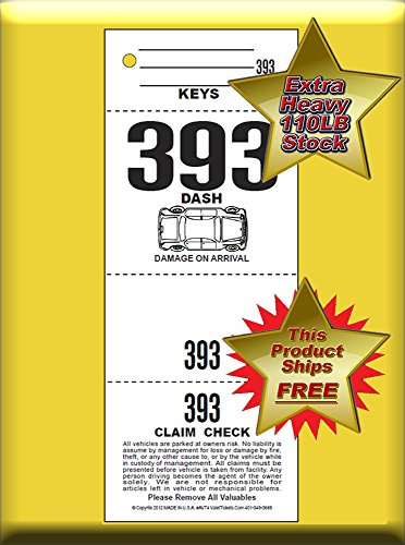 (1,000 Tickets) 4 Part Valet Parking Tickets, Valet Tags, 110lb Card Stock White, Car diagram on front