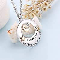 UNKE I Love You to the Moon and Back Pendants Necklace,Love My Mom Necklaces Best Gifts for Mothers Day