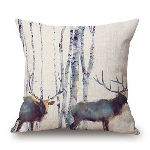 Elliot_yew Nordic Simple Watercolor Painting Animals Throw Pillow Case Personalized Cushion Cover Home Office Decorative Square Pillowcase 18 X 18 Inches-Elk by Elliot_yew (Image #4)