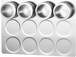 HEFANTU Magnetic Spice Rack Wall Mount, Stainless Steel Spice Containers Wall Base for Magnetic Spice Tins (Tins Not Included)