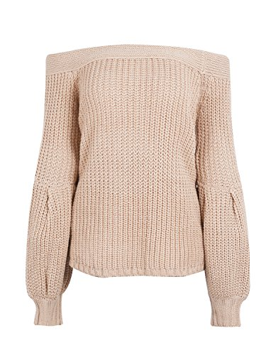 Simplee Women Loose Sexy Off Shoulder Knitted Pullover Sweater Puff Sleeve - Wide Sweater Sleeve