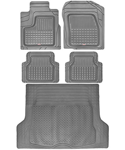 Motor Trend BC210-B2 Grey Performance Plus Rubber Car Floor Mats & Cargo Weather Liners 5pc Set (Gray) (2006 Toyota Highlander Floor Mats All Weather)