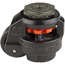 """FOOTMASTER GD-60S-BLK-1/2 Nylon Wheel and NBR Pad Leveling Caster, 550 lbs, Stem Mounted with 0.5"""" Mounting Hole Diameter, Black Finish"""