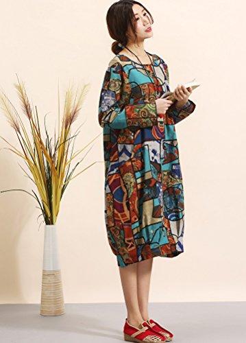Us Style with L fit Print Clothing 9 Fashion Women's Pockets Blue Minibee Random nqx0PFXX