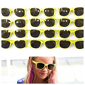 12 Pack Yellow Kids Party Sunglasses - Best For Party Favors, The Beach, Pool And Outdoor Activities - Wayfarer Style Glasses - 100% UV Protection For Boys And Girls - By John & Judy (12)