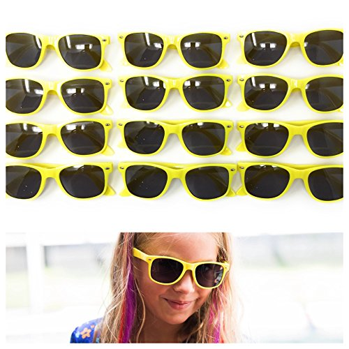 12 Pack Yellow Kids Party Sunglasses - Best For Party Favors, The Beach, Pool And Outdoor Activities - Wayfarer Style Glasses - 100% UV Protection For Boys And Girls - - Sunglasses Wayfarer Means