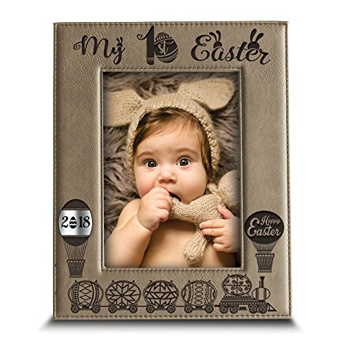 Happy Easter Gift - BELLA BUSTA My First Easter Picture Frame-Happy Easter gift-Easter 2018-Easter decorations- Engraved Leather Picture Frame (5