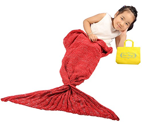[Sun Cling Crochet Mermaid Tail Blanket with Sleeping Bags, 56x28 - Red] (Fifties Outfit)