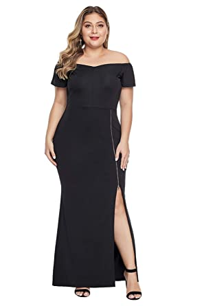 1925ecac04 Foryingni Women's Plus Size Off Shoulder Short Sleeve Zipper Split Formal  Maxi Dress XL Black1