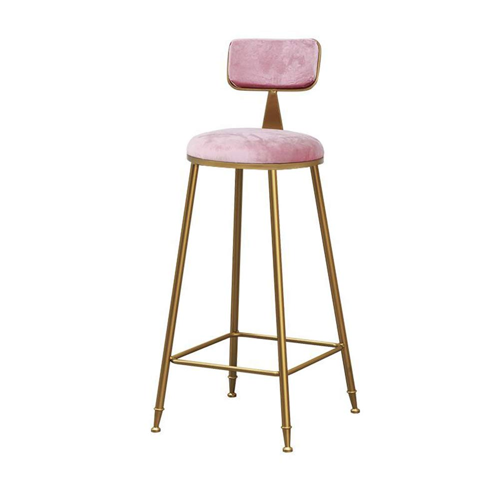 Bar Chairs Metal Wrought Iron Single Seat Leisure Backrest Beauty Shop Dressing Dining Cafe Makeup-Pink-45CM by YANGYA