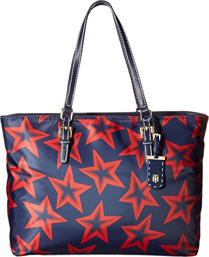 Tommy Hilfiger Women's Julia Star Nylon Tote Large Dome Backpack Navy/Red One Size