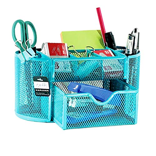 Miklan Office School Supplies Mesh Desk Organizer, Mesh Wire Design, Multifunctional Organizer, Features 9 Space Saving Compartments Including One Large Drawer (Sky Blue)