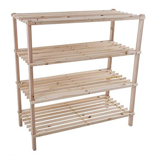 Wooden Space Saver (Wood Shoe Rack, Storage Bench – Closet, Bathroom, Kitchen, Entry Organizer, 4-Tier Space Saver Shoe Rack by Lavish Home)