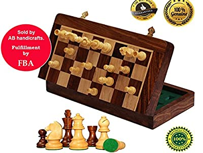 AB handicrafts 10x10 Inch Chess Set - Magnetic Folding Chess Game - Fine Wood Classic Handmade Standard Staunton Ultimate tournament Rosewood Chess Board
