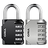 ORIA Combination Lock, 4 Digit Combination Padlock, Metal and Plated Steel Material for School, Employee, Gym , Case, Toolbox, Fence, Hasp Cabinet and General Storage, Great Gift, Present for Family or Friends, Pack of 2, Silver&Black