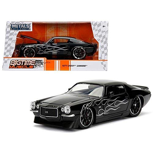 Jada 1971 Chevrolet Camaro SS Black with Flames 1/24 Diecast Model Car