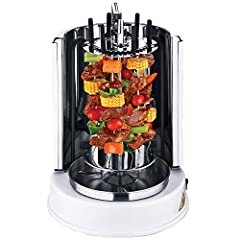 1. Removable and detachable parts for easy clean2. The gyros will change direction automatically if there is a force3. The skewers and gyros go in opposite direction so that the food could be heated better 4. The vertical grill allows broilin...