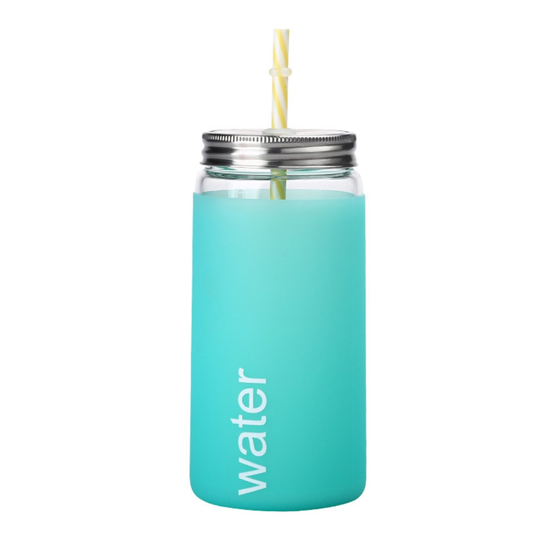 Glass Tumbler Mug with Straw Lid Insulated Silicone Protective Sleeve Mason Jar Tumbler Cup with Straw- Idea for Ice Coffee, Tea,Beverage & Cold Drinking (Mint Green,500ml/17.6oz)
