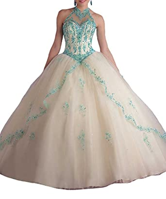 Victoria Prom Womens High Neck Sweet 16 Beading Christmas Dresses Quinceanera Dress Champagne us2