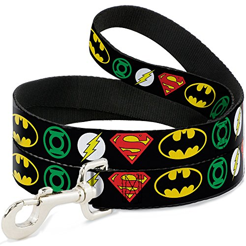 Buckle Down Dog Leash Justice League Superhero Logos 6 Feet Long 0.5 Inch Wide -
