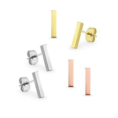 I Jewel - 3 pares de pendientes de acero inoxidable para ...