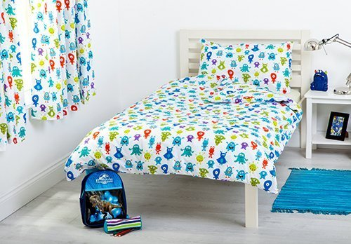 Ready Steady Bed Monsters Aliens Design Children's Cot Bed Junior Toddler Size Duvet Cover Set 120cm x 150cm with Pillowcase