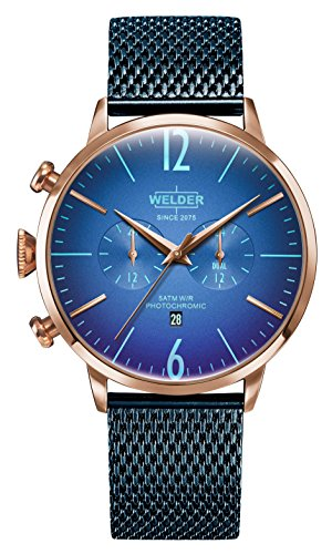 Welder Moody Stainless Steel Blue Mesh Dual Time Rose Gold-Tone Watch with Date 45mm