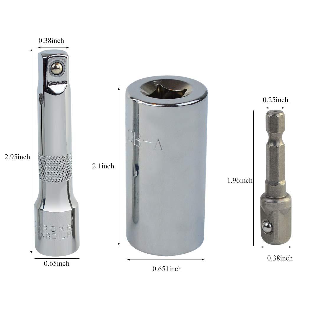 Universal Socket,Yolyoo 1/4''-3/4'' (7mm-19mm) Socket Wrench Set, Metric Wrench Power Drill Adapter Socket, Professional Repair Tools