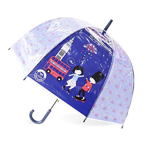 (Kids Unicorn Umbrella Cute Transparent Umbrellas Apollo Semi Automatic Cartoon Penguin Children Umbrella Drop Shipping,Bus Navy)
